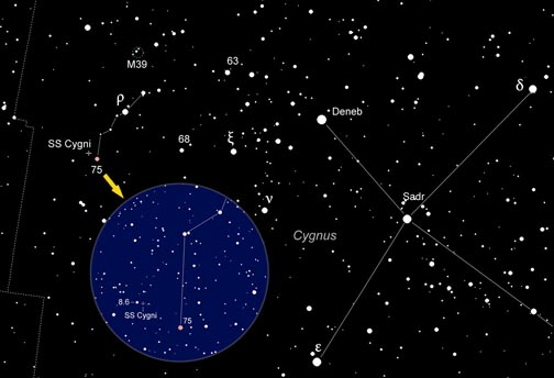 Our featured star's a hop, skip, and jump from Deneb in the Northern Cross