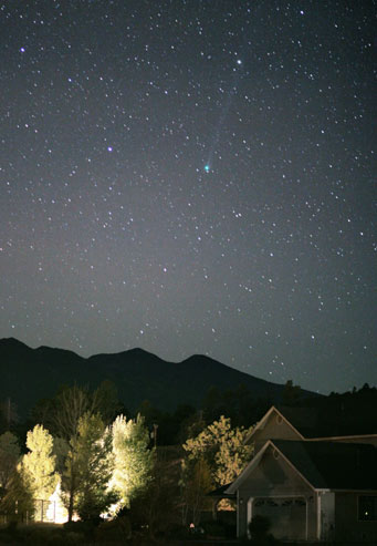 Comet SWAN over Arizone mountains.