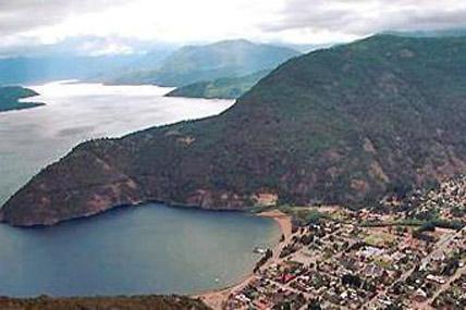 Aerial view of lake Lácar and San Martín de los Andes