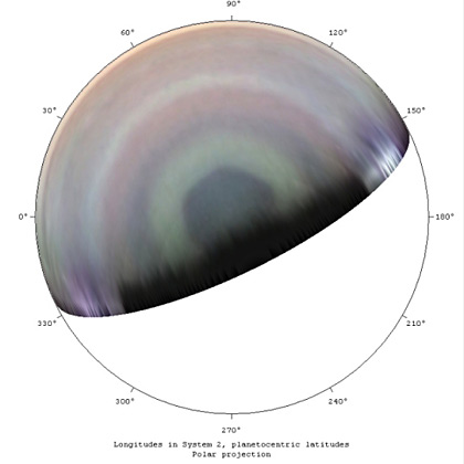 Saturn north polar projection, April 21, 2013