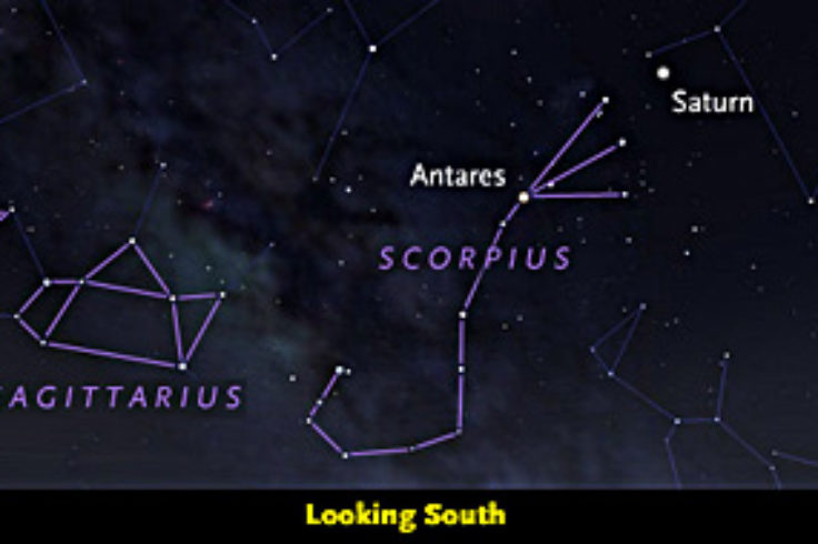 Saturn amid the stars of Scorpius