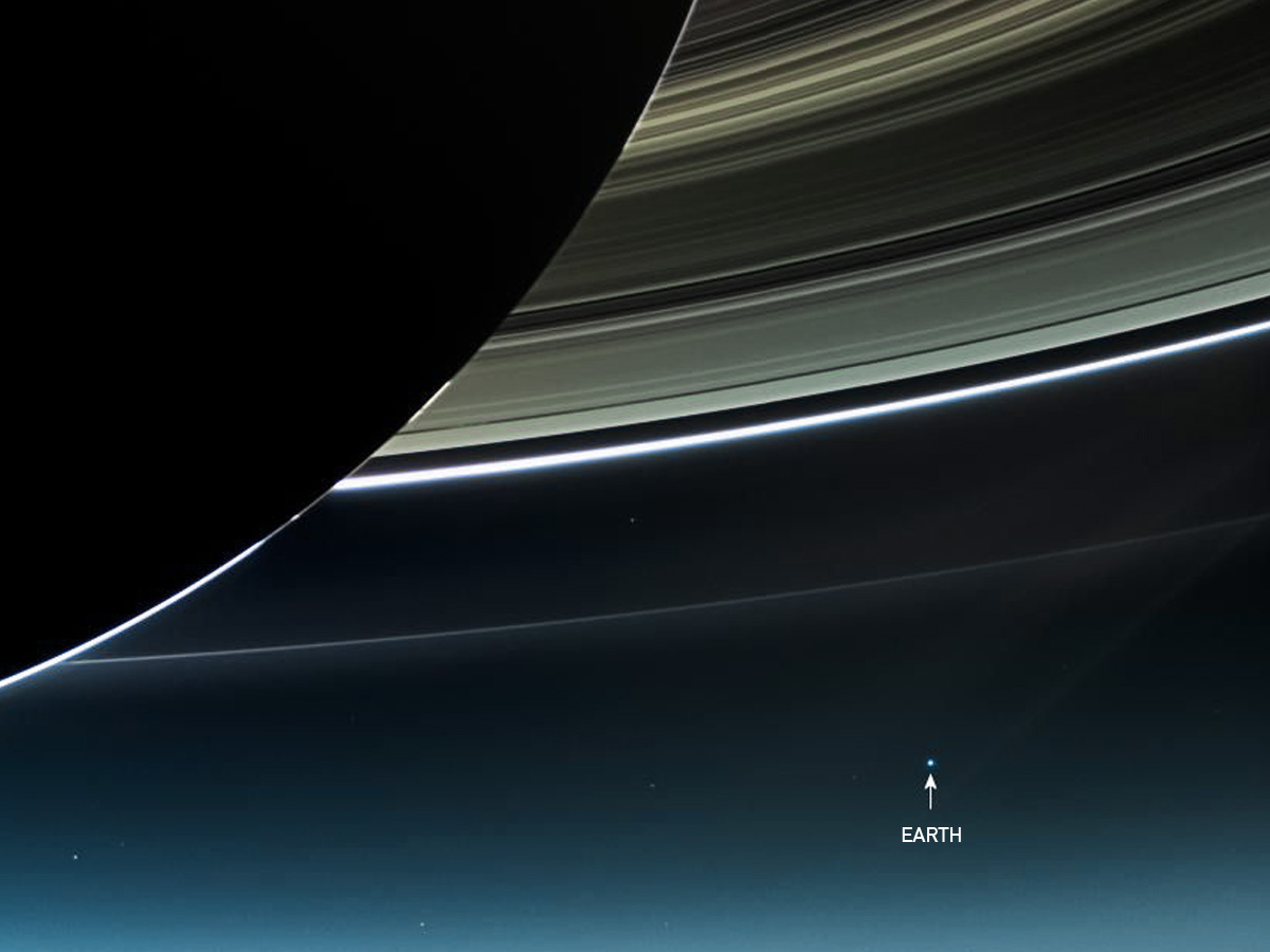 Earth's small size in relation to saturn