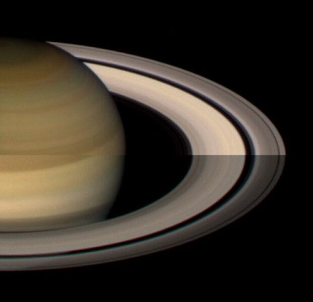 The brightness of Saturn's rings