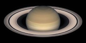 Viewing Saturn: These images suggest how the ringed planet Saturn might will look when seen through a telescope with an aperture 4 inches (100 mm) in diameter (top) and through a larger instrument with an 8-inch aperture (bottom).