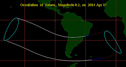 Path of Saturn occultation