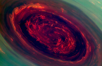 "Saturn's ""red rose"" hurricane"