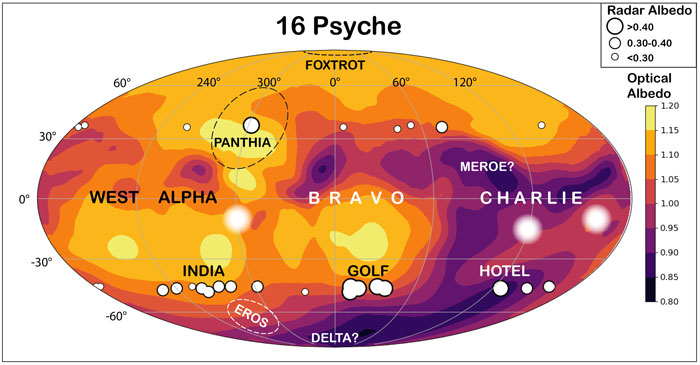 A surface map of Psyche highlight areas of high radar and visible-light albedo, as well as surface features.