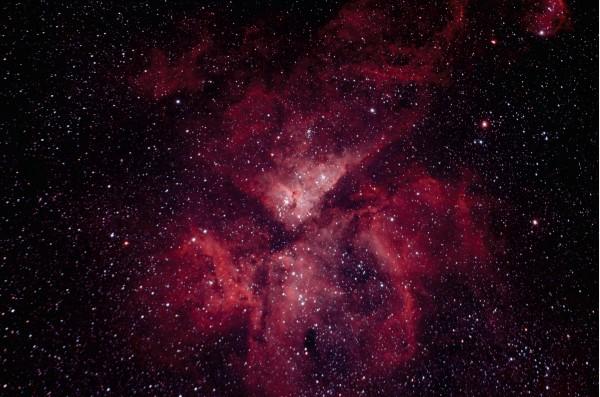 Eta Carina Nebula, as captured by modified, astrophotography DSLR camera.