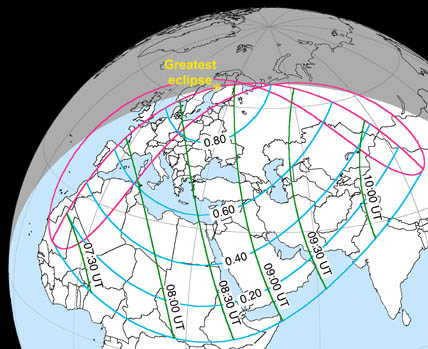 Visibility of January 4th's solar eclipse