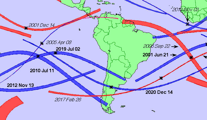 South America eclipse map
