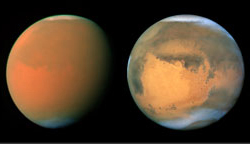 Mars before and during a dust storm