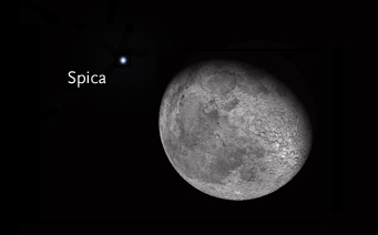 Moon and Spica from Los Angeles