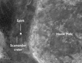 Orbital view of Spirit and Home Plate