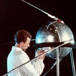 Technician working on Sputnik 1, 1957.