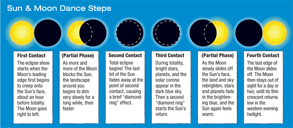 Hows whys of eclipses sky telescope the stages of a solar eclipse from partial to total to partial begin and end when the edges of the moon and sun make contact with each other fandeluxe Images