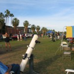 "The University of Arizona mall fills up with telescopes as the 2009 Star Night gets under way last weekend.  The author and ""Apollo,"" his 6-inch f/8 Cave reflector built around 1970 during the heyday of the Apollo Moon missions, are in the foreground."
