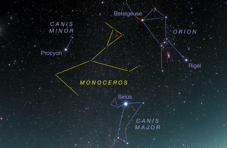 Star chart for Monoceros