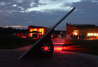 This photo was taken on August 20, 2011, at Observatory Park's dedication ceremony.  The image depicts a sundial in the park's plaza.