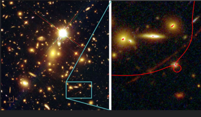 Galaxy magnified by foreground galaxy cluster