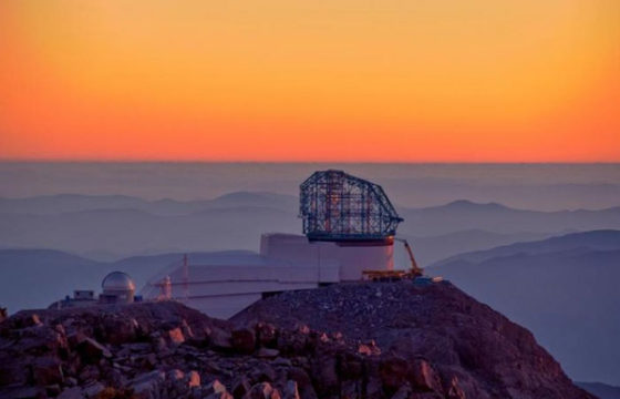 Rubin Observatory construction at sunset