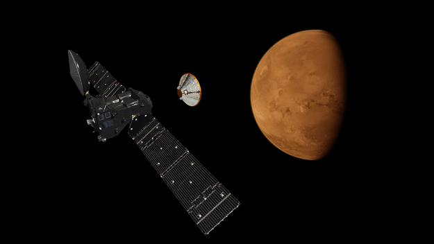 Artist's depiction of Schiaparelli lander separating from the Trace Gas Orbiter