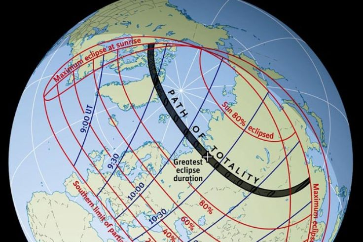 Solar eclipse path on August 1, 2008