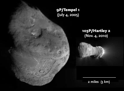 Comets Tempel 1 and Hartley 2 compared