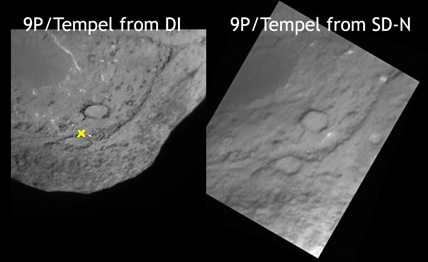 Before-and-after images of Comet Tempel 1