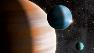 This artist's conception shows a terrestrial exoplanet, a gas giant and a mid-sized gas dwarf. Image credit: J. Jauch.