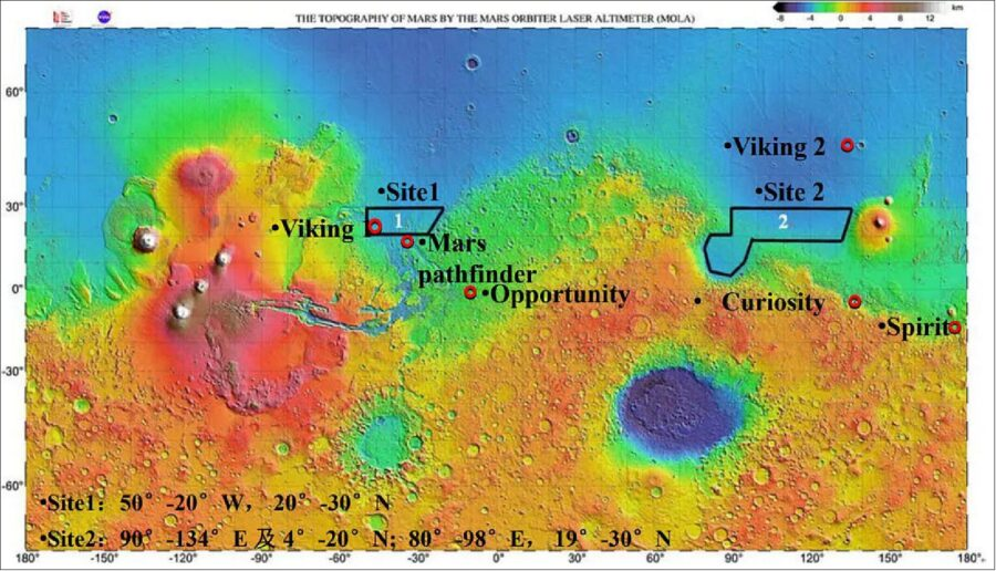 Potential Tianwen 1 landing sites