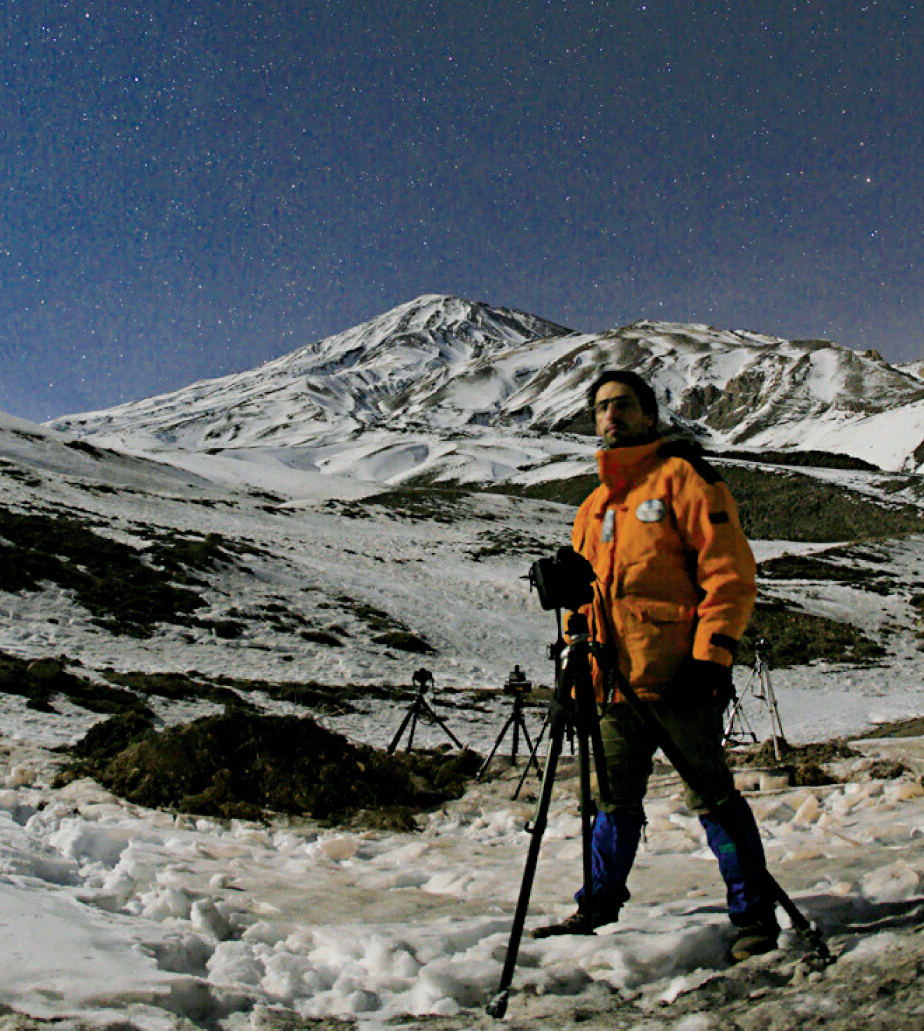 Perhaps the biggest challenge to nightscape photography is traveling to picturesque locations. Here the author prepares for a night of imaging in the foothills below Mount Damavand in Iran.Babak A. Tafreshi