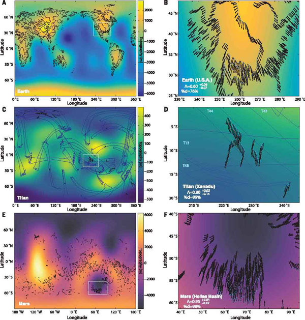 Maps of topography for Mars, Earth, and Titan overlain with the fluvial features used in the study.