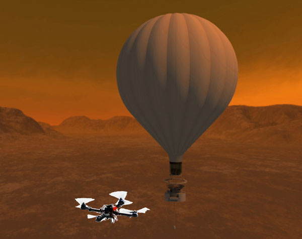 Titan balloon with quadcopter