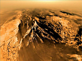 View of Titan during Huygens's descent