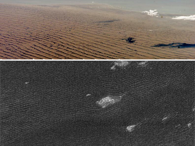 Linear dunes on Earth and Titan