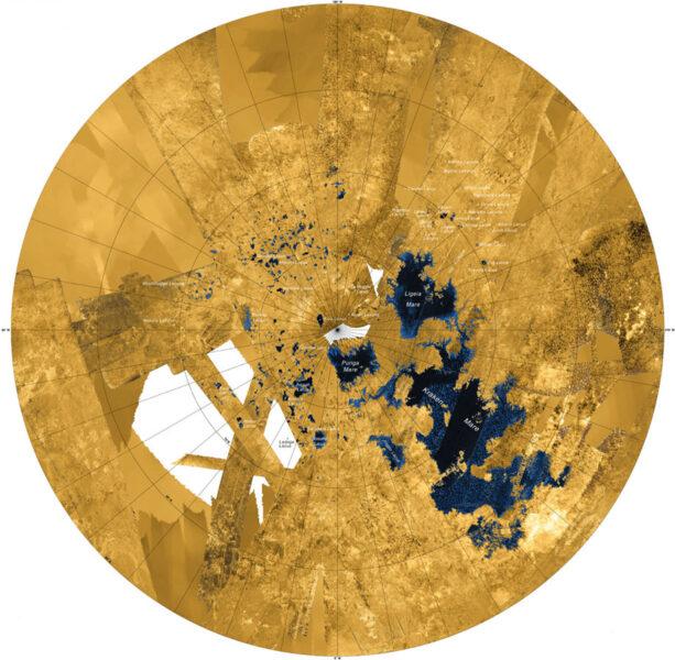 radar map of Titan's north pole