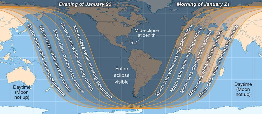 Global visibility of January 2019's total lunar eclipse