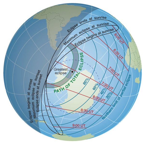 Total solar eclipse path on Dec 4, 2021