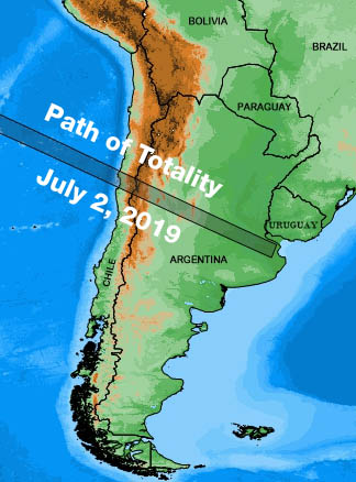 Totality's path in 2019