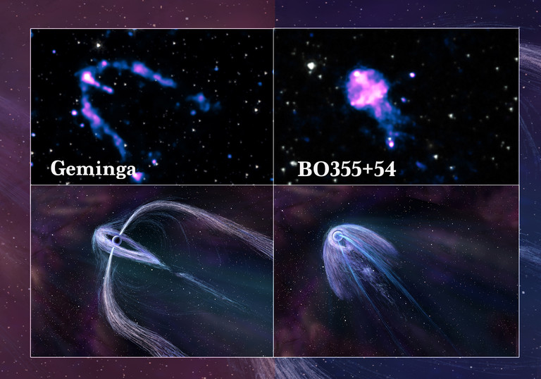 Geminga and B0355+54 pulsars as imaged by Chandra, and as conceptualized by an artist