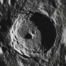 The crater Tycho seen by Lunar Orbiter 5.