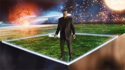 "Neil Tyson with ""Cosmic Calendar"""
