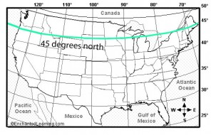 U.S. map showing the 45 degree latitude lower limit for typical noctilucent cloud sightings. Take it with a grain of salt - clouds have been seen farther south.