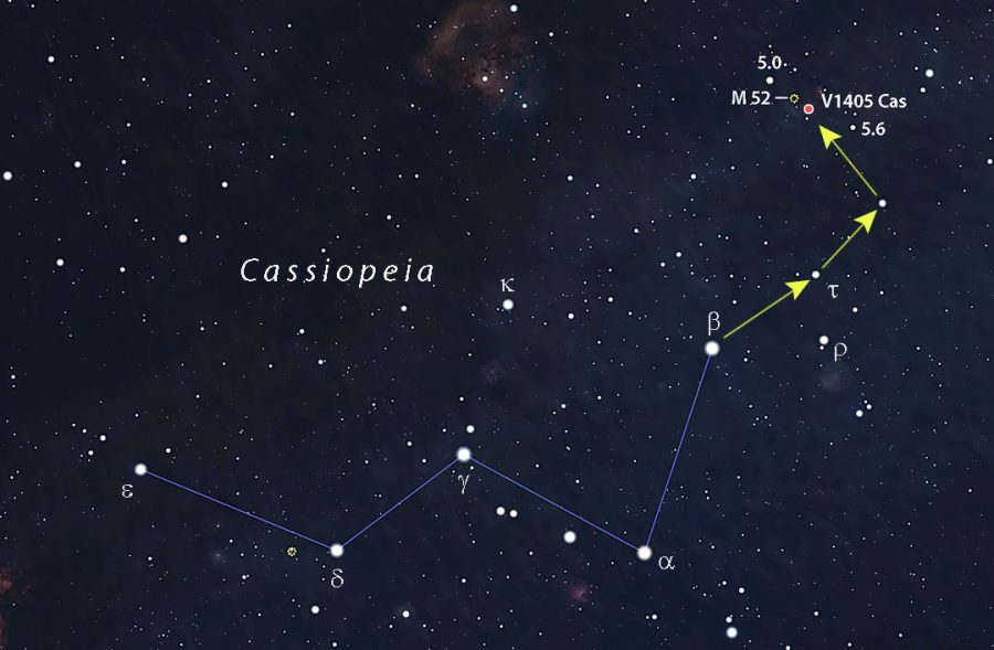 a star chart of Cassiopeia, with the slow nova V1405 Cas shown