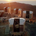 The VLT at sunset. Four 8.2-meter telescopes form the heart of the European Southern Observatory's Very Large Telescope facility on Cerro Paranal in Chile.