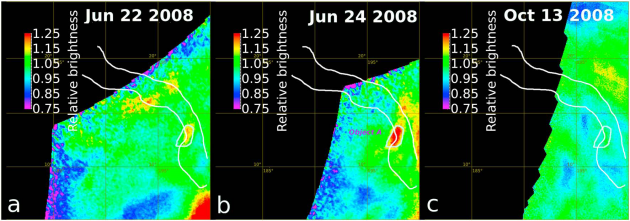 These infrared images, captured by the Venus Monitoring Camera at 1.01 microns, show brightness changes at a hotspot region in the Ganiki Chasma. Object A in the second image is brighter (hotter) than the corresponding region in the first, and grows dimmer (cooler) again in the third image. Since the hotspot area did not change location over time, the team concluded that it must be coming from the surface, instead of from the atmosphere. The grid boxes are about 500km on a side. Credit: Shalygin & others / Geophysical Research Letters