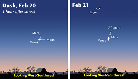 Venus, Mars, and the Moon this week