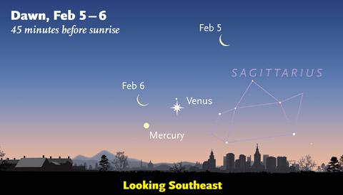 Venus-Mercury-Moon in early February 2016