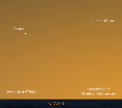 An exceptional opportunity to see Venus' first meeting with the crescent Moon this apparition