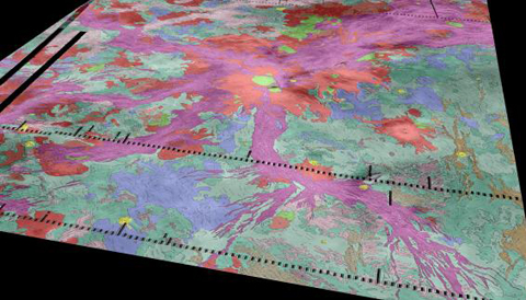 Miles of rift zones (purple) spread out of Venus's volcano, Ozza Mons (red, center). Data from the Venus Express spacecraft suggests there are active lava flows in hotspots along the rifts. Credit: Ivanov / Head / Dickson / Brown University.